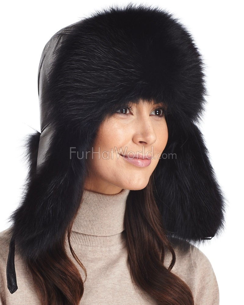 Womens Black Fox Fur & Leather Trapper Hat