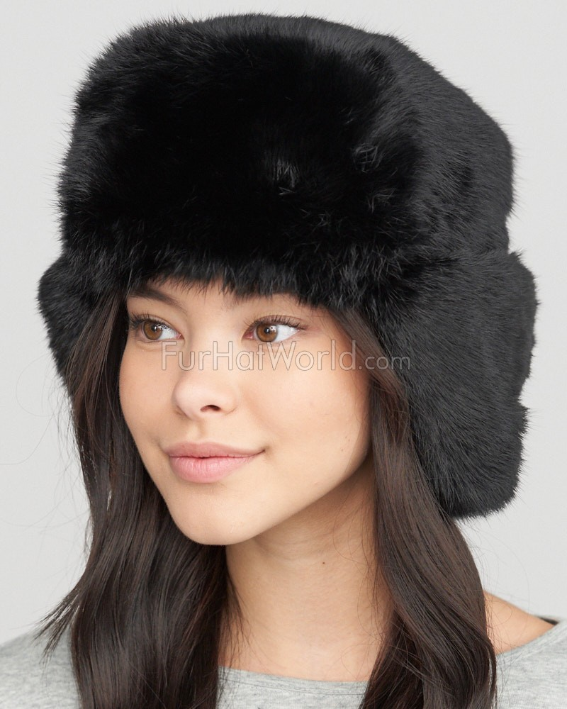 the moscow fur rabbit russian hat in black