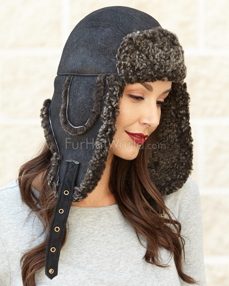 Womens Black Ultimate Shearling Sheepskin Aviator Trapper Hat