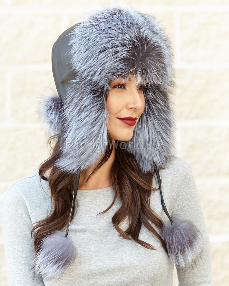 Womens Blue Mist Fox Fur Excursion Trapper Hat with Pom Pom
