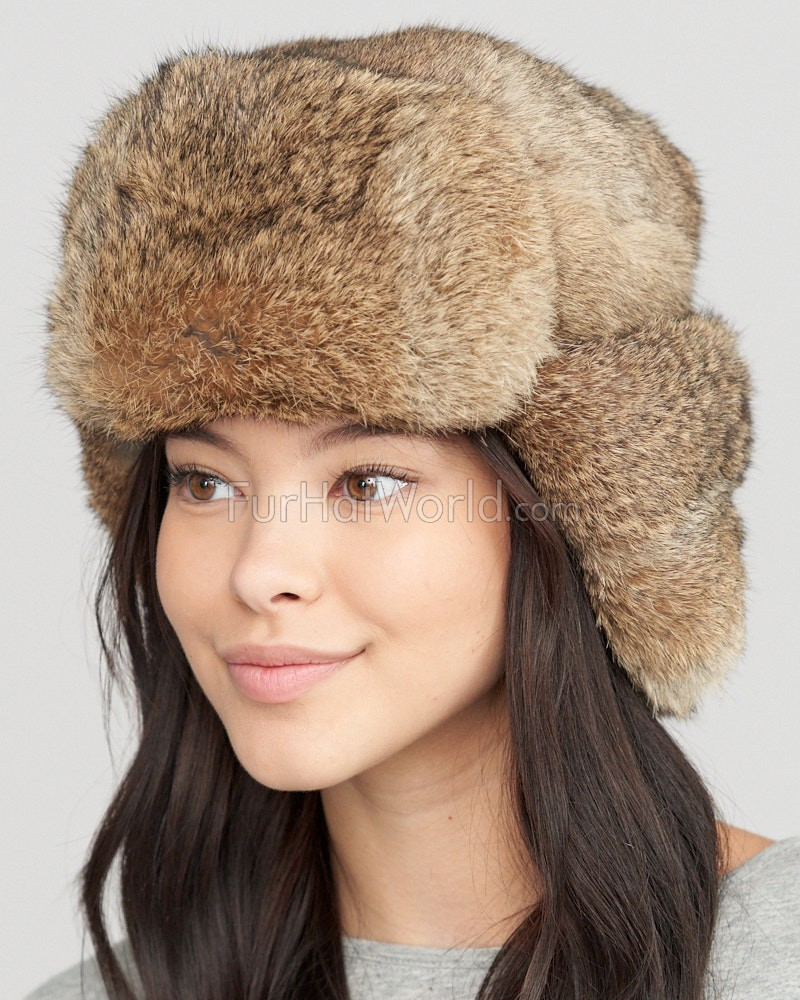 Womens Brown Full Fur Rabbit Russian Hat