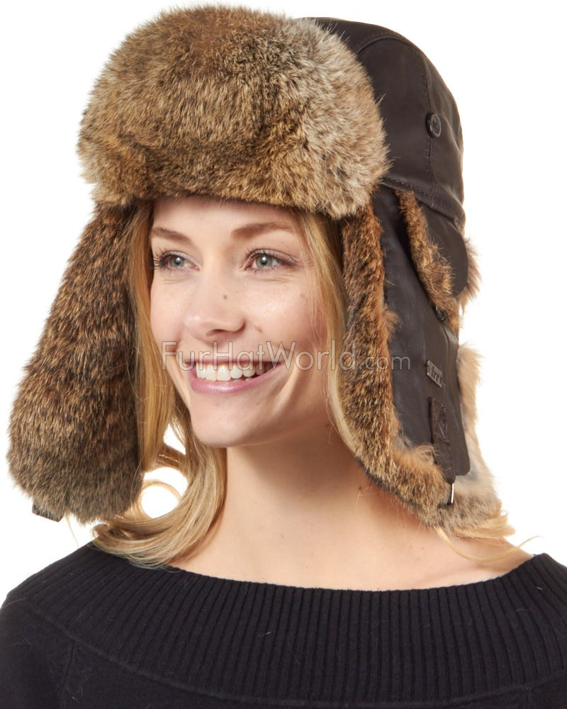 Ladies Brown Leather Rabbit Fur Trapper Hat