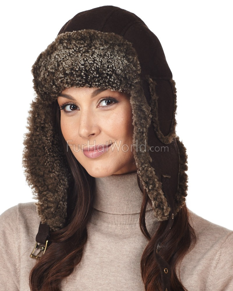 Womens Brown Ultimate Shearling Sheepskin Aviator Trapper Hat