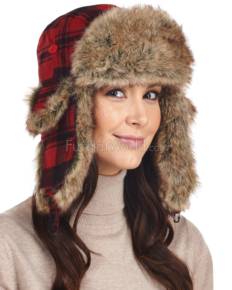Womens Red Buffalo Check Faux Fur Trapper Hat