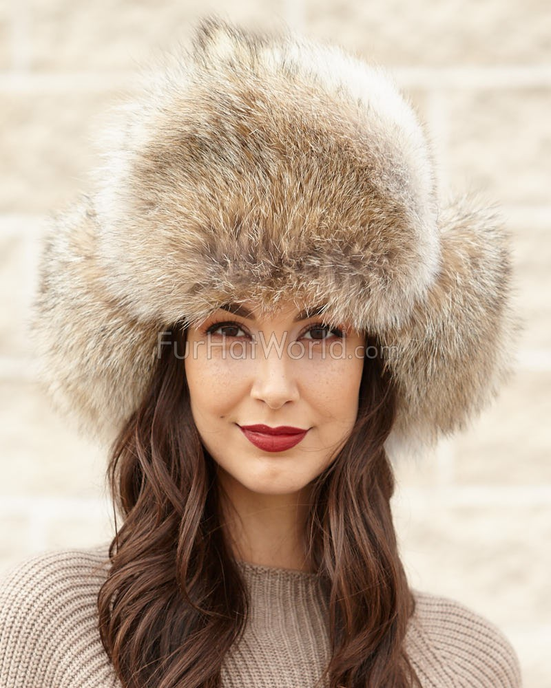 Womens Coyote Full Fur Russian Hat