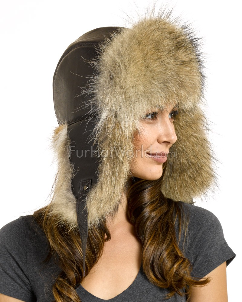 Womens Coyote Fur & Leather Trapper Hat
