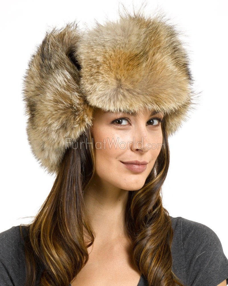 Women's Coyote & Suede Russian Officer Hat