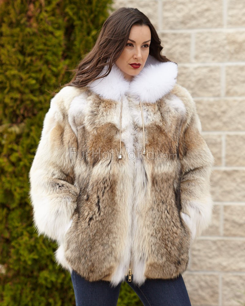 c1d0a2bbe5de The Abby Coyote Fur Parka Coat with Hood for Women  FurHatWorld.com