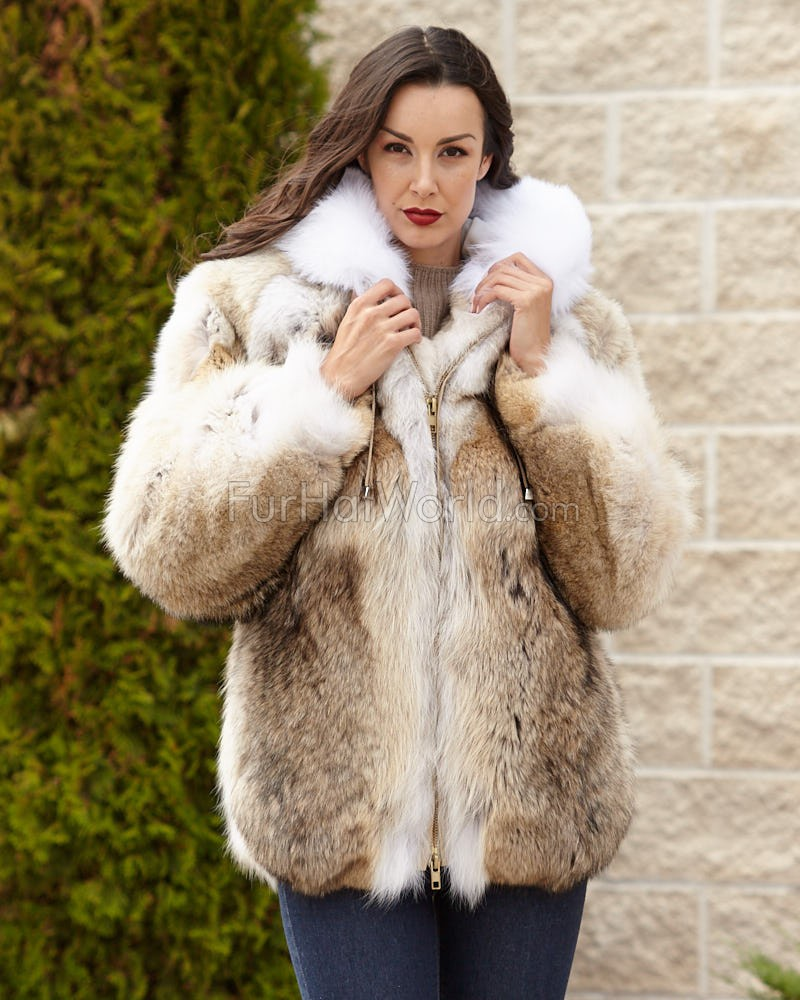 The Abby Coyote Fur Parka Coat with Hood for Women: FurHatWorld.com
