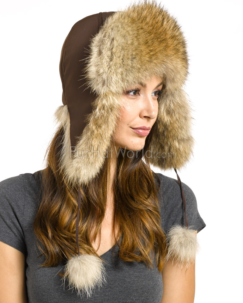 Womens Coyote Fur Trapper Hat with Pom Poms