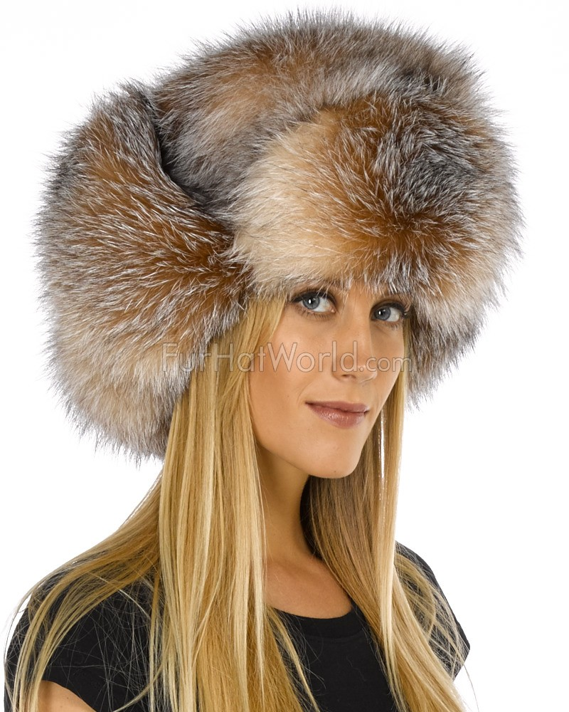Womens Crystal Fox Full Fur Russian Hat