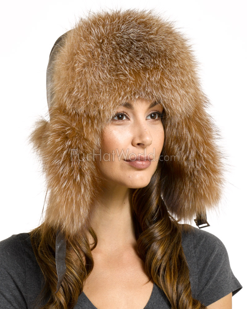 Womens Crystal Fox Fur & Leather Trapper Hat