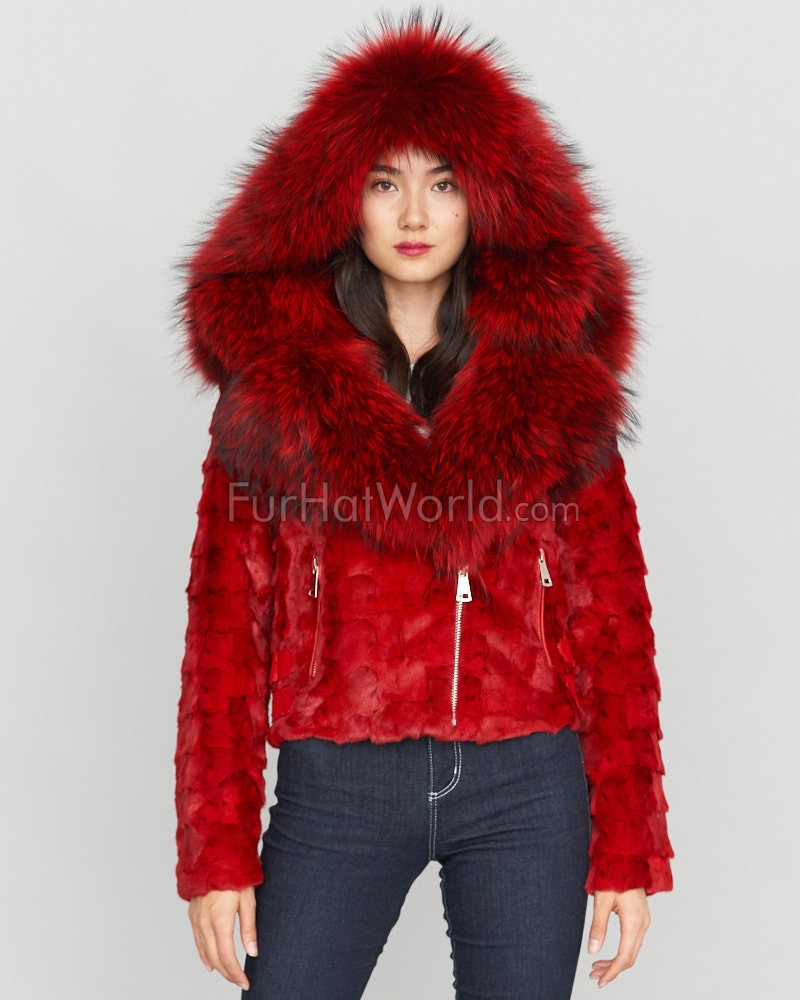 Diamond Mink Motor Jacket w/ Fox Collar & Hood in Red
