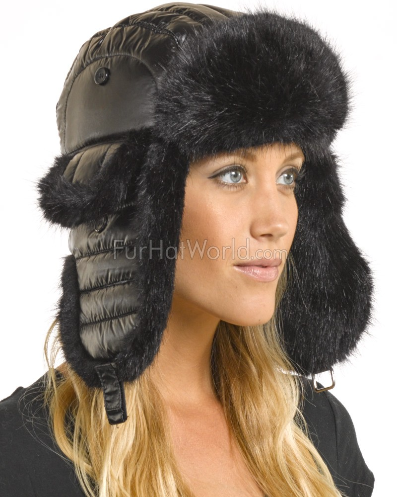 Ladies Black Faux Fur Puffer Hat