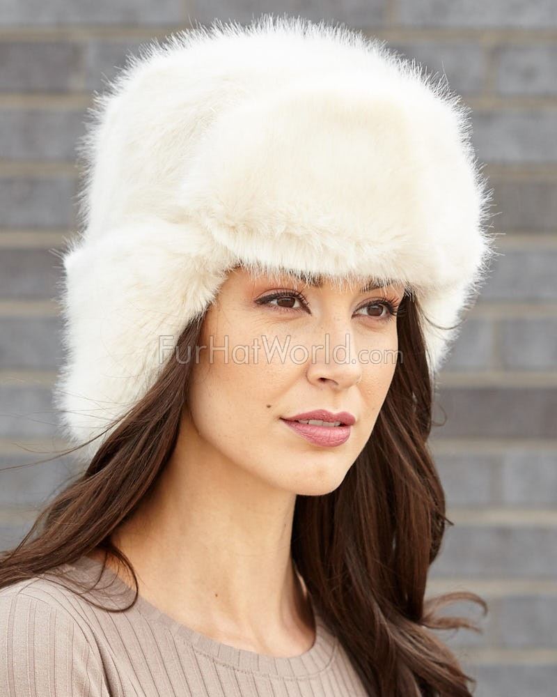 Womens Faux Fur Russian Ushanka Hat - Buff