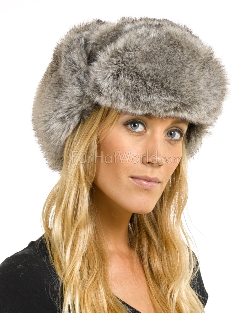 Womens Faux Fur Russian Ushanka Hat - Gray