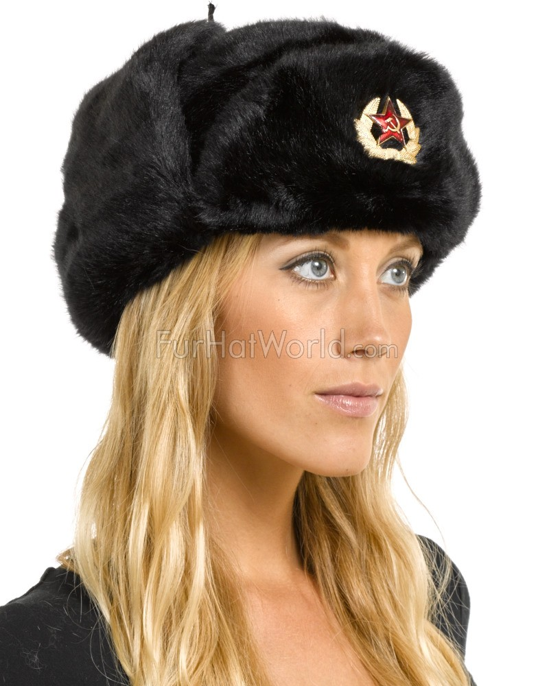 Womens Faux Fur Russian Ushanka Hat with Badge - Black
