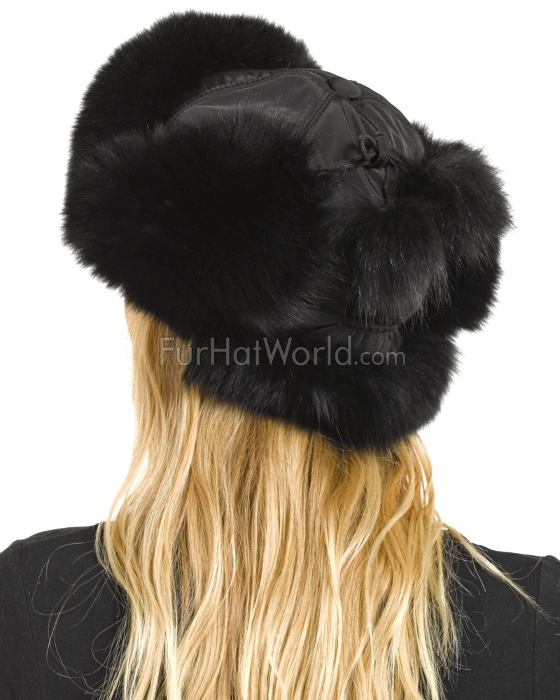 1079d608c44096 Womens Black Fox Fur Trapper Hat with Pom Poms: FurHatWorld.com
