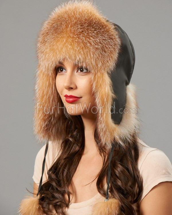 Womens Fox Fur Trapper Hat with Pom Poms - Crystal