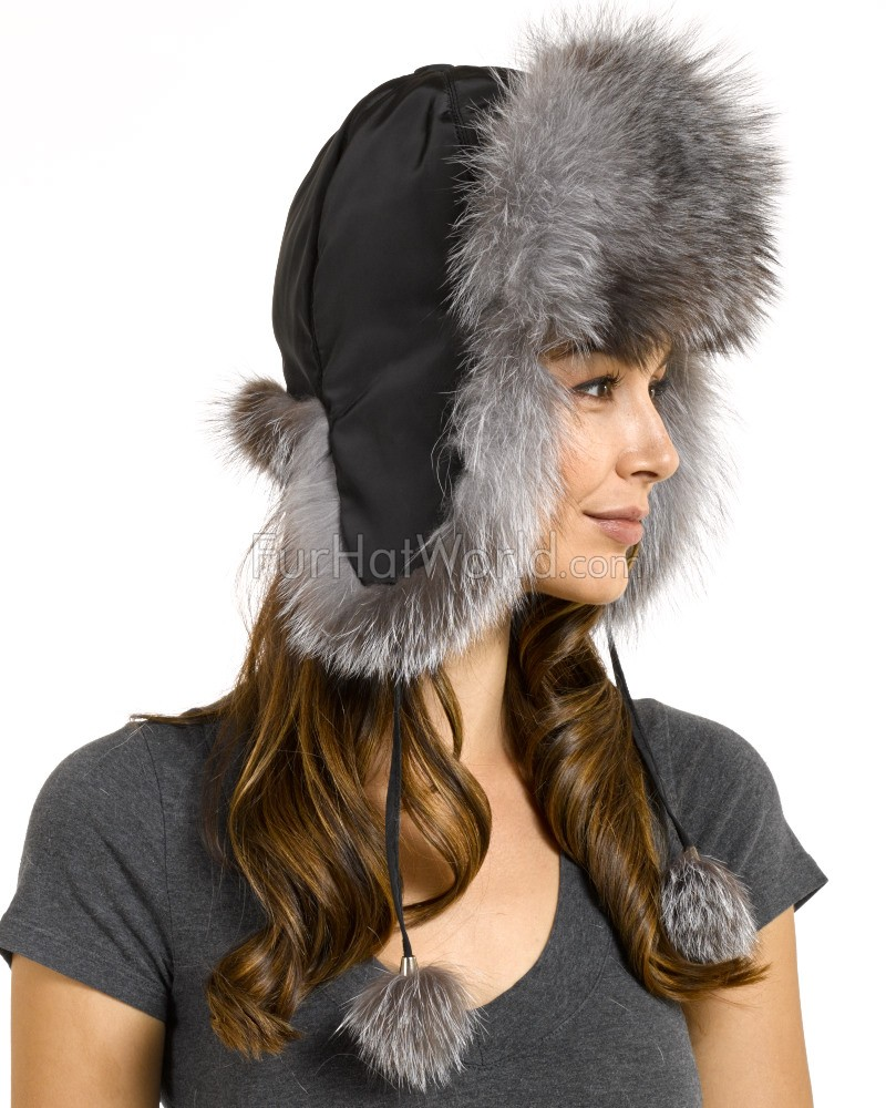 Womens Fox Fur Trapper Hat with Pom Poms - Silver