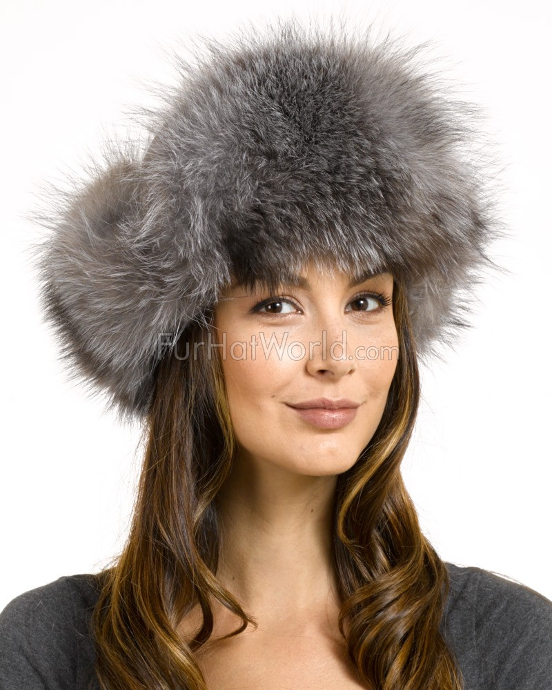 womens silver fox fur trapper hat with pom poms