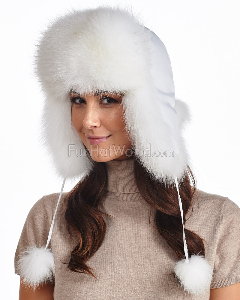 Womens White Fox Fur Trapper Hat with Pom Poms