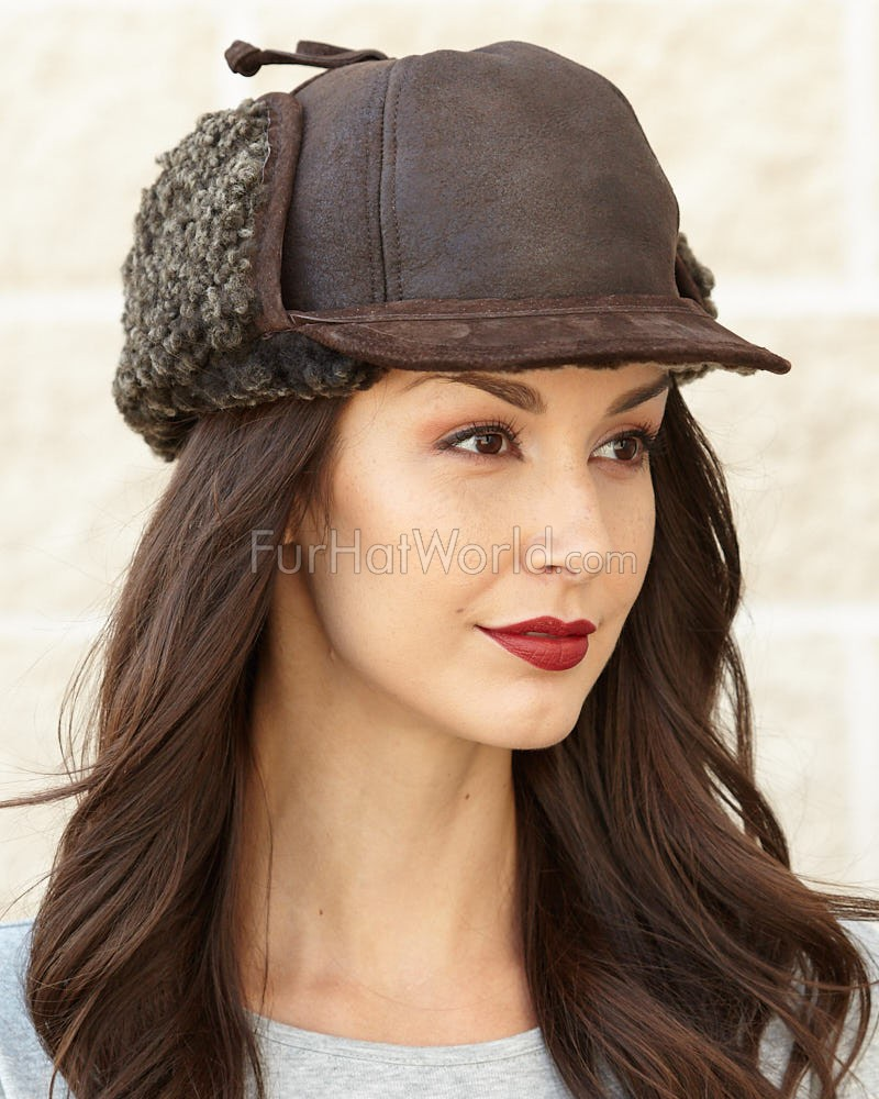 Womens Fudd Shearling Sheepskin Hat - Frosted Brown