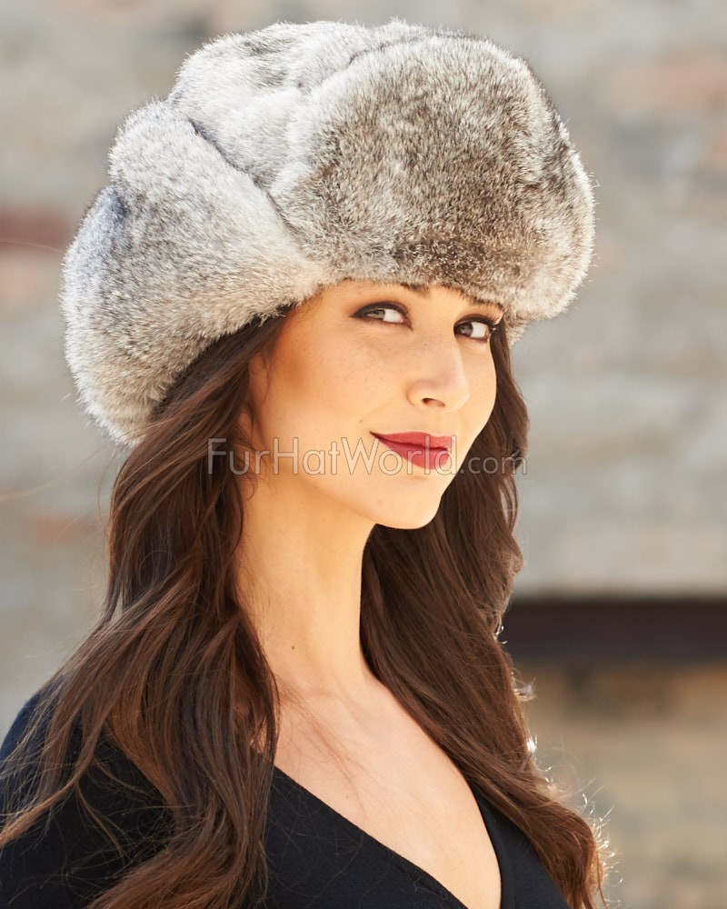Womens Gray Full Fur Rabbit Russian Hat