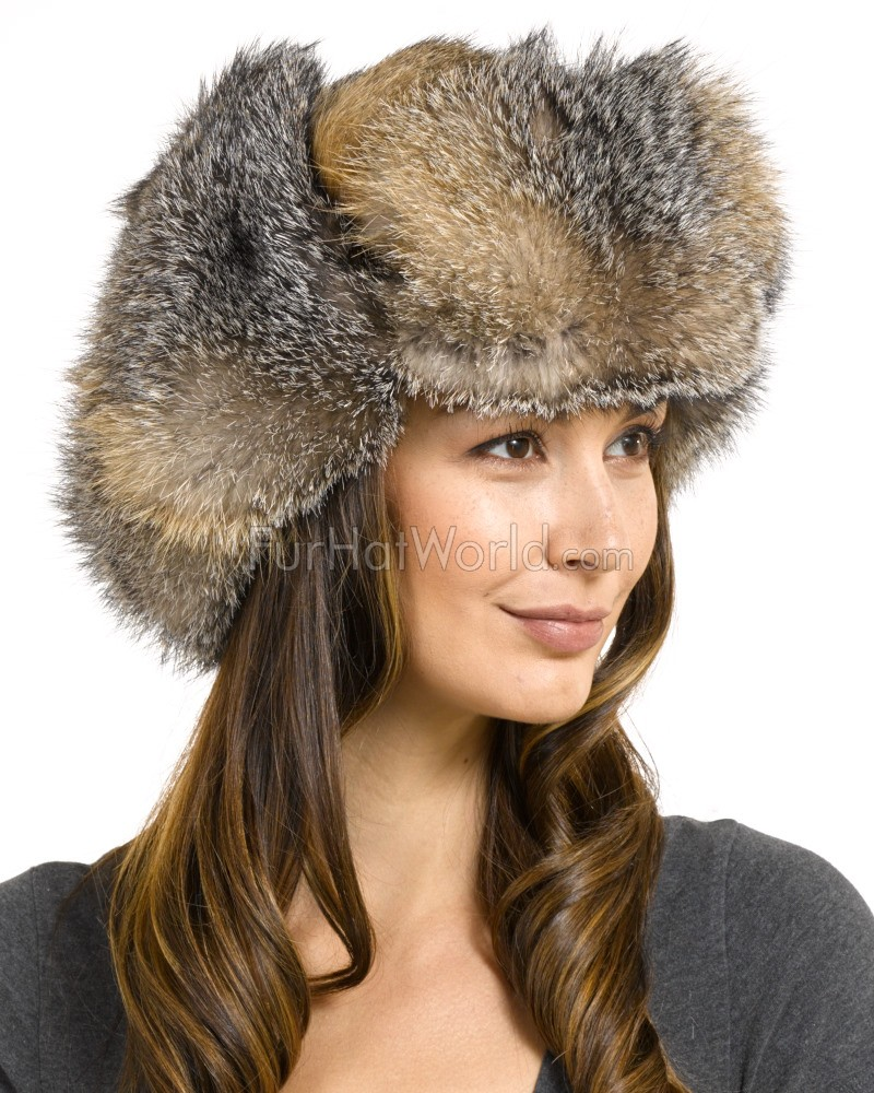 womens grey fox fur russian ushanka hat furhatworld