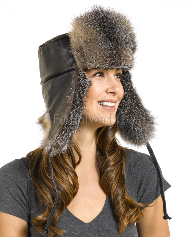 Womens Grey Fox Fur Leather Russian Hat  sc 1 st  Fur Hat World & Womens Grey Fox Fur Leather Russian Hat: FurHatWorld.com