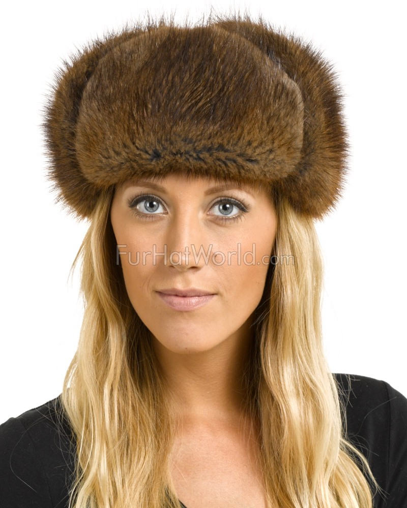 Women's Muskrat Fur & Suede Russian Officer Hat