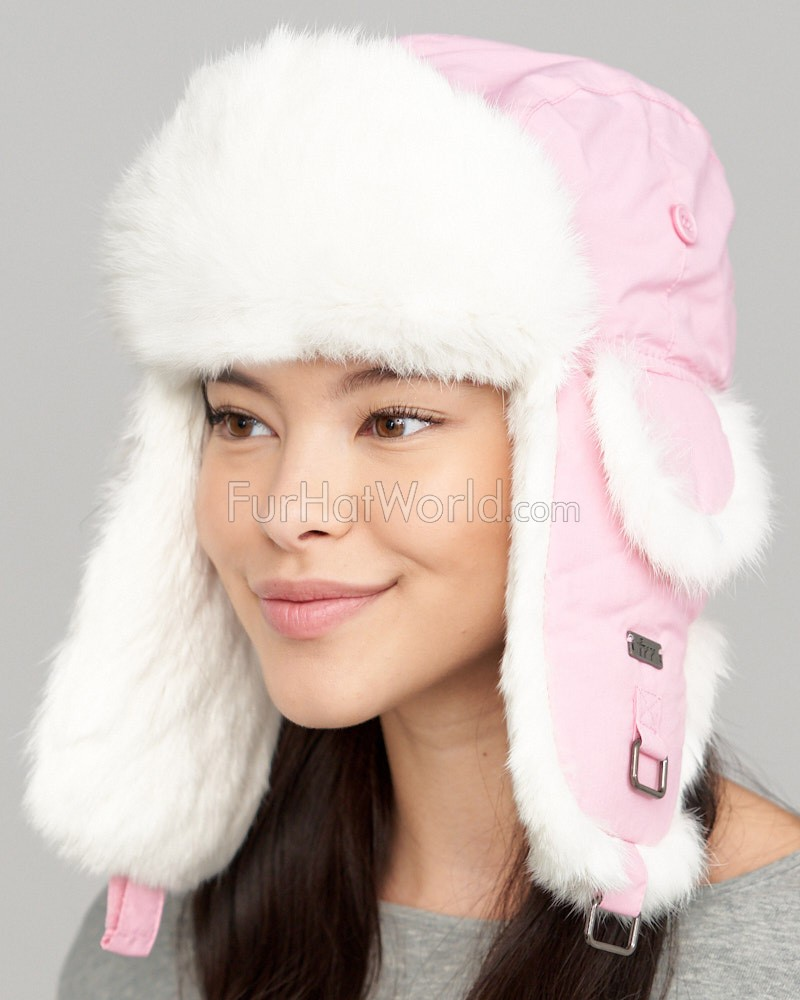Pink Taslon Trapper with White Rabbit Fur