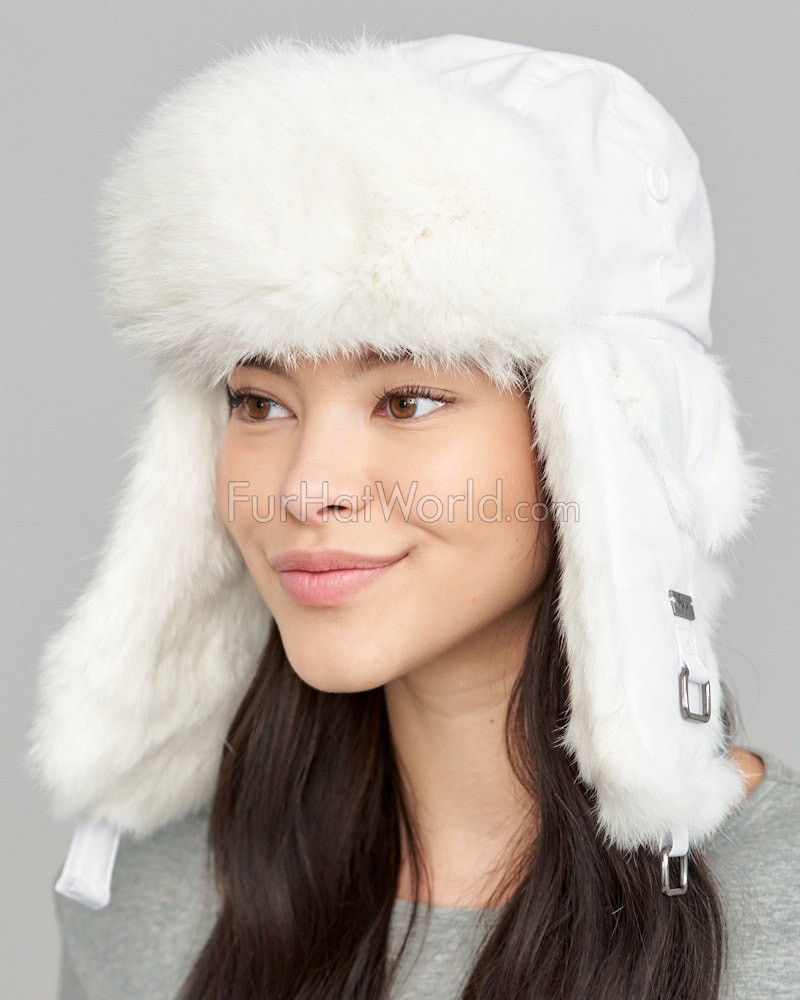 7cefca4801f White Taslon Trapper with White Rabbit Fur  FurHatWorld.com