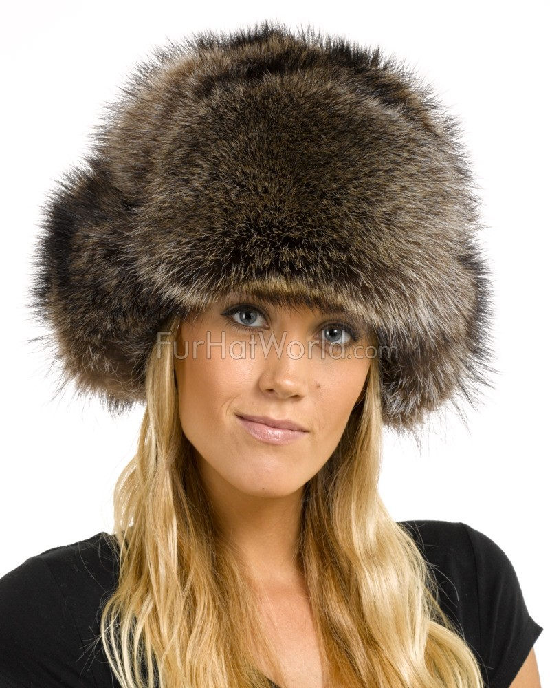 Womens Raccoon Full Fur Russian Hat