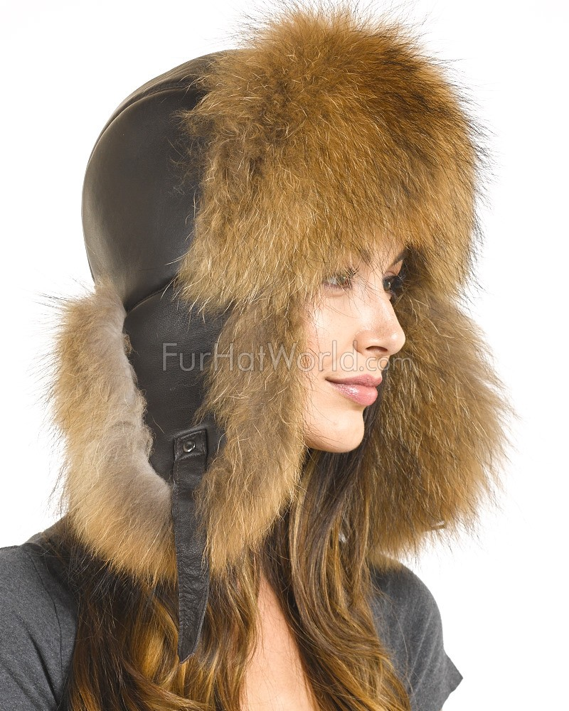 Womens Raccoon Fur & Leather Trapper Hat