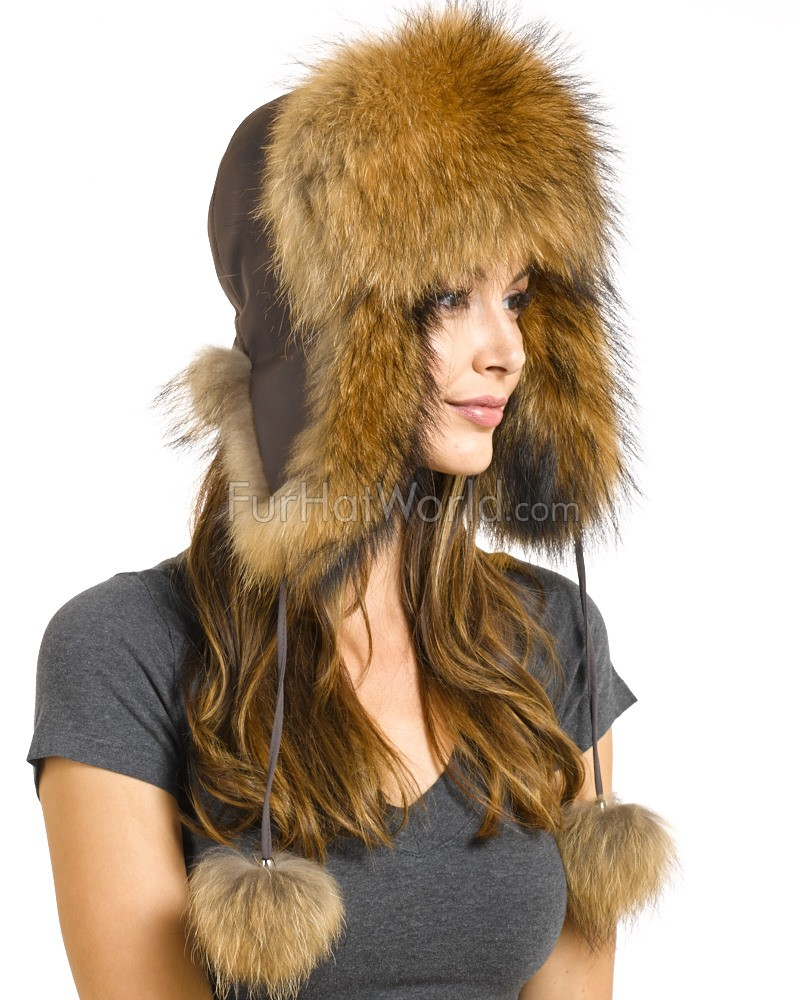Womens Finn Raccoon Fur Trapper Hat with Pom Poms