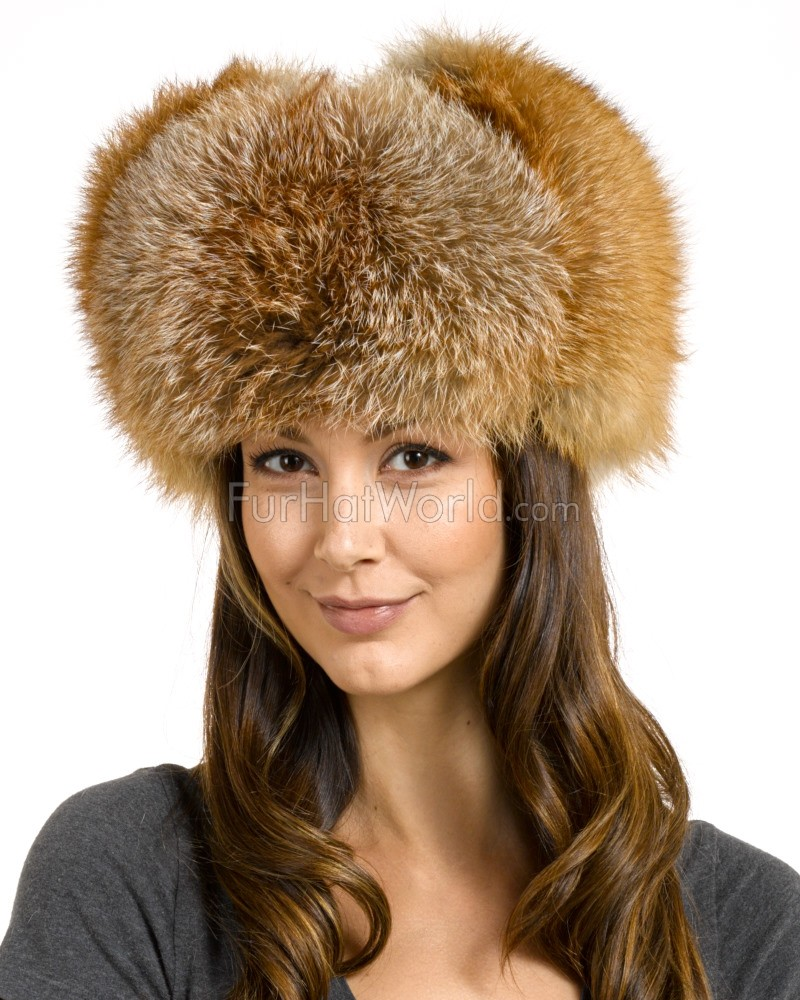 Womens Red Fox Full Fur Russian Hat