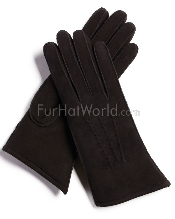 Womens Shearling Sheepskin Gloves - Black