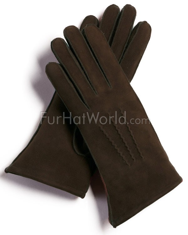 Womens Shearling Sheepskin Gloves - Brown