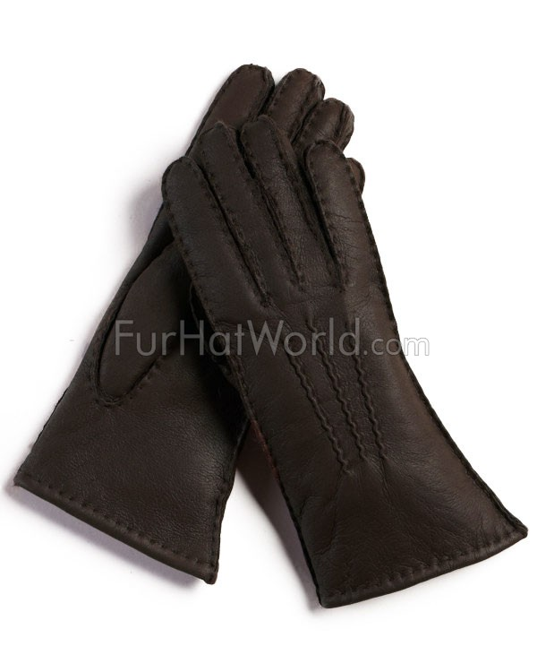 Womens Shearling Sheepskin Gloves - Brown Napa