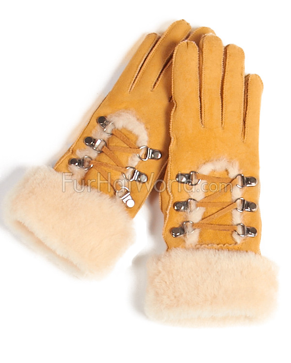 Womens Shearling Sheepskin Gloves - Tan
