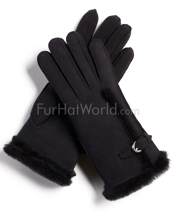 Antartica Shearling Sheepskin Gloves with Buckle in Black
