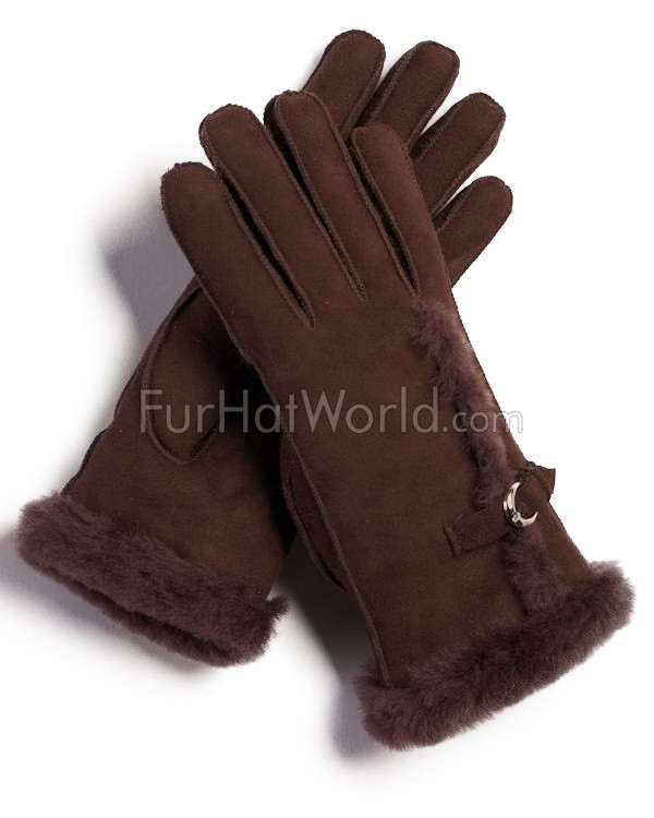 Womens Shearling Sheepskin Gloves with Buckle - Brown