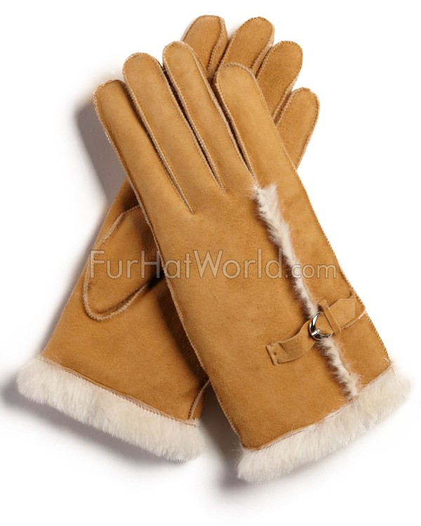 Womens Shearling Sheepskin Gloves with Buckle - Tan