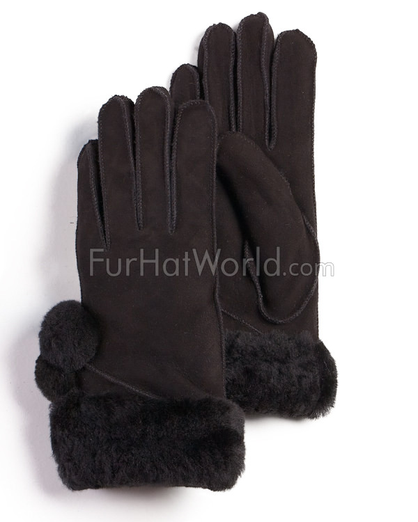Womens Shearling Sheepskin Gloves with pom poms - Black