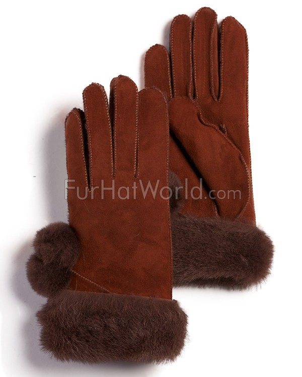 Womens Shearling Sheepskin Gloves with pom poms - Brown