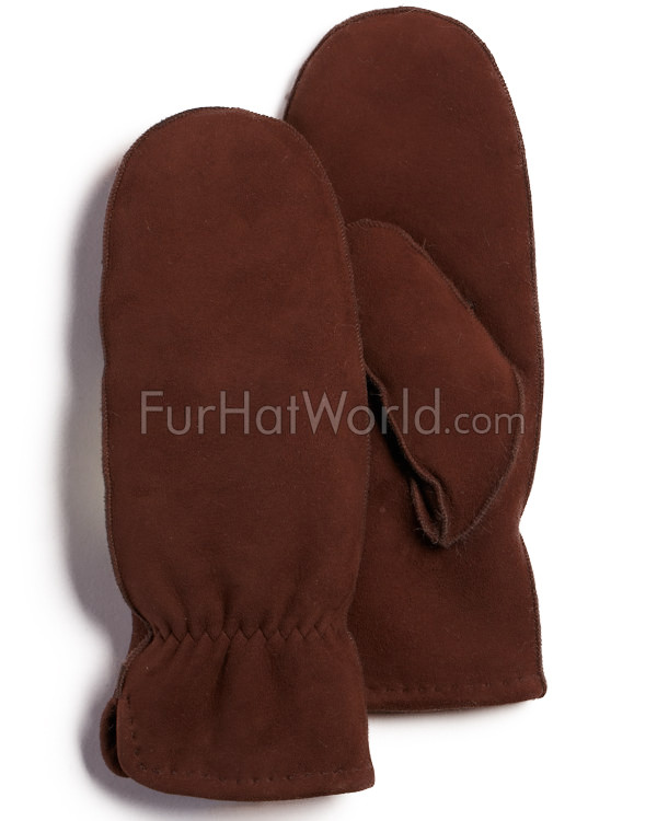 Yukon Shearling Sheepskin Mittens in Brown