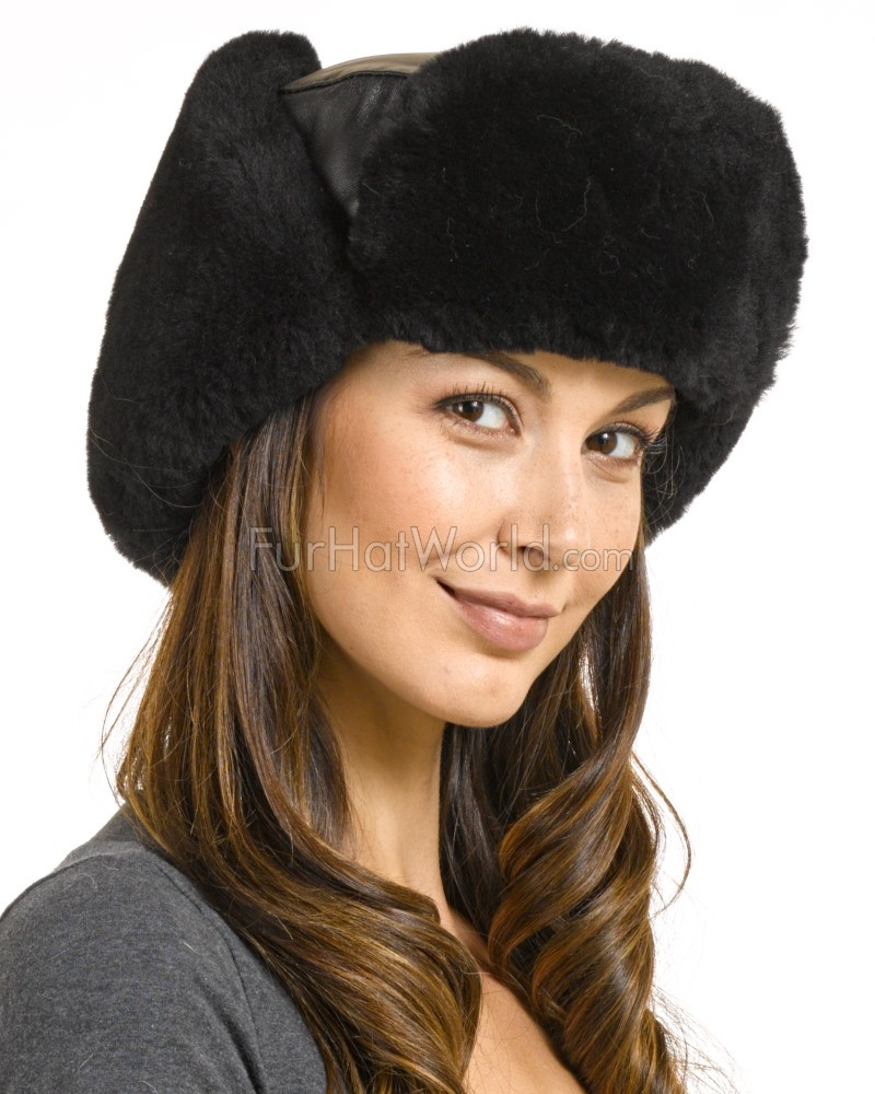 Ladies Sheepskin & Leather Russian Miliatry Hat in Black