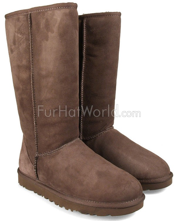 Tall Classic Brown Shearling Sheepskin Boots