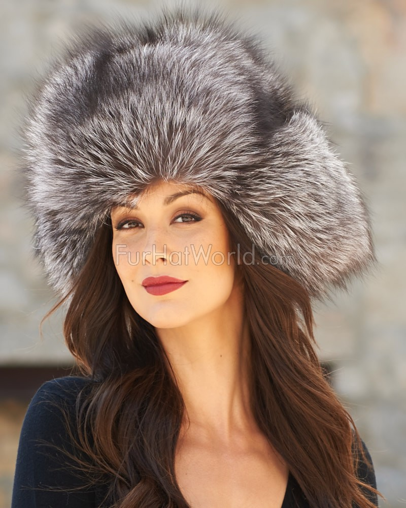 Ladies Silver Fox Full Fur Russian Hat